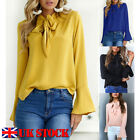 Womens Long Sleeve Bow Tie Casual Loose Blouse Ladies OL Work T Shirts Tee Tops