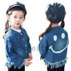 Girls Kids Baby Children Toddlers Denim Jean Jacket Outwear Smile Face Frayed