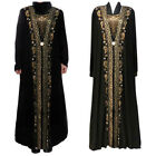 New Dubai Women Black Rhinestone Long Sleeve Abaya Muslim Maxi Kaftan Robe Dress