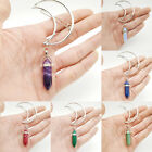 Vintage Women Alloy Moon Hair Clip Natural Stone Charm Pendant Clamp Hairpin