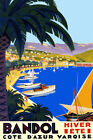 Bandol Cote France Sailboat Beach French Vintage Poster Repo FREE S/H in USA