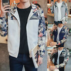 Spring Jacket Men Floral Zipper Hip Hop Patch Slim Fit Pilot Bomber Jacket US