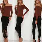 Women Blouse Autumn Winter Casual Solid Strapless Tops Long Sleeve Blouse