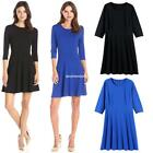 Women Casual O-Neck 3/4 Sleeve Solid Slim and Flare A-Line Dress EN24H 01