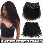 "USA STOCK Virgin Remy Brazilian Afro Kinky Clip in Extension 12""-20"" Unprocessed"
