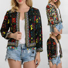 Colorful Ethnic Flower Embroidered Tassel Jacket Womens Coat  Blazer Cardigan