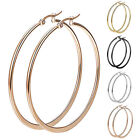 2 Pair Sexy Women Stainless Steel Smooth Big Large Hoop Earrings Jewelry 40-60mm image