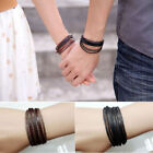 New Leather Wrap Braided Wristband Cuff Punk Mens Womens Hot Bracelet Bangle