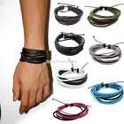 Newest Men's Braided Leather Multilayer Wrap Cuff Bangle Bracelet Wristband