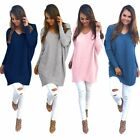 USA Womens Lady V-Neck Chunky Knitted Oversized Sweater Jumper Tops Long Outwear
