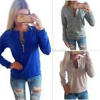 Ladies V-Neck Long Sleeve Hoodie Sweater Womens Winter Jumper Pullover Tops USA