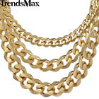 3/5/7/9/11mm Mens Chain Stainless Steel Curb Cuban Necklace Bracelet 8-36inch