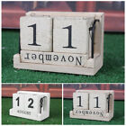 Classic Wood Calendar Brown Perpetual Block Home Office Tabletop Room Decor Gift