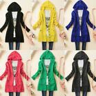 USA Womens Knitted Hooded Sweater Cardigan Long Sleeve Knitwear Coat Top Outwear