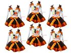 My 1st 2nd 3rd Thanksgiving White Top Brown Orange Trim Skirt Girl Outfit NB-8Y