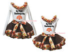 My First Thanksgiving White Top Brown Turkey Satin Trim Skirt Girl Outfit NB-8Y