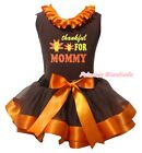 Thankful For Mommy Brown Top Brown Orange Satin Trim Skirt Girl Outfit Set NB-8Y