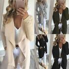 Women Casual Open Front Long Sleeve Patchwork Woolen Coat Cardigan EN24H