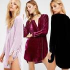 Long Sleeve Womens Velvet Micro Mini Shirt Dress Loose Top Cozy Blouse Tunics LD