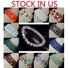 Handmade Natural Gemstone Round Beads Stretch Bracelet 4mm 6mm 8mm 10mm 7.5