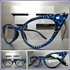 Women's VINTAGE CAT EYE Style READING EYE GLASSES READERS Blue Crystals Handmade