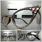 Women's CAT EYE Style READING EYE GLASSES READERS Pink & Green Crystals Handmade