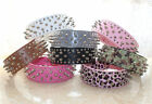 Colourful Leather Dog Collar Spikes & Studs Collars Pit bull Dog Terrier Collars