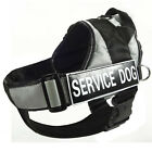 Grey Reflective Service Dog Harness Vest Removable Chest Plate & free 2 Patches