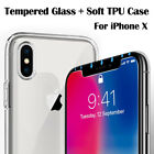 For Apple iPhone X Full Protect Tempered Glass Screen Cover Film+ Clear TPU Case