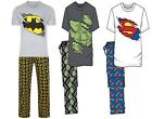 MENS BATMAN  HULK SUPERMAN PYJAMAS  XMAS GIFT  T SHIRTS AND LOUNGE PANTS