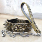 Dog Collar Medium Large Breed Leather Spiked Studded Dog Collar+Chain Leash set
