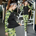 1Set Women Slim Long Sleeve Sports Camouflage Fit Gym Yoga Running Tracksuit