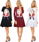 NEW Women's Christmas Long Sleeve Clothing Santa Claus Print Skirts Dress Top