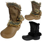 New Ladies Womens Winter Waterproof Soles Boot Snugg Furry Rain Snow Boots 2-7