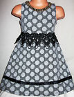GIRLS BLACK GREY SPOT PRINT LACE NECKLACE TRIM SPECIAL OCCASION PARTY DRESS
