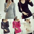 Wear To Work Ribbed Knit Cotton Women's Long Sleeve Stretch Knitwear Knitted Top