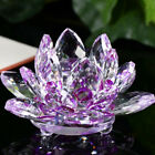 Lotus Crystal Glass Figure Paperweight Ornament Feng Shui Decor Collection Gifts