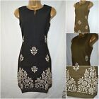 NEW MONSOON SHIFT DRESS BLACK KHAKI EMBROIDERED FLORAL COTTON CASUAL SIZE 8 - 18