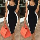 Women's Bandage Slim Bodycon Patchwork Evening Party Cocktail Midi Pencil Dress