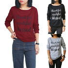 Fashion Women's Christmas Letter Print Long Sleeve Pullover Blouse T-Shirt Coat
