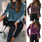 Women Lady Loose Long Sleeve Button Down Shirt Cotton Velvet Pockets Blouse Top
