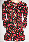 GIRLS BLACK RED FLORAL PRINT WINTER KNIT PARTY DRESS TUNIC TOP AND LEGGING SET