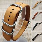 New Mens Genuine Leather Army Military Buckle Watch Strap Band 18mm/20mm/22mm image