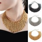 Fashion Gold Chain Plated Handmade Alloy Tassel Statement Bib Chunky Necklace