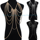 Women Jewelry Sexy Harness Gold Chain Shoulder Crossover  Body Chain Necklace
