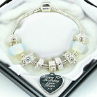 ENGRAVED Jewellery Charm Bracelet Clear Beads Personalised Christmas Gifts Boxed