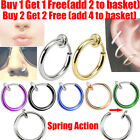 Fake Spring Clip On Nose Ring Hoop Lip Ring Helix Ring Hoop Fake Ear Ring Hoop