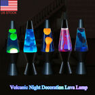 Retro Volcanic Lava Lamp Blue Liquid Motion Vintage Night Light Lite Silver Base