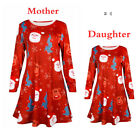 BABY GIRL MOTHER AND DAUGHTER XMAS SWING DRESS CHRISTMAS Party Dress Long Sleeve