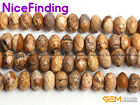 """Natural Picture Jasper Rondelle Heishi Spacer Stone Beads For Jewelry Making 15"""""""